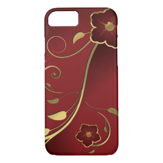 Beautiful Red & Gold Floral Fine Art iPhone 8/7 Case