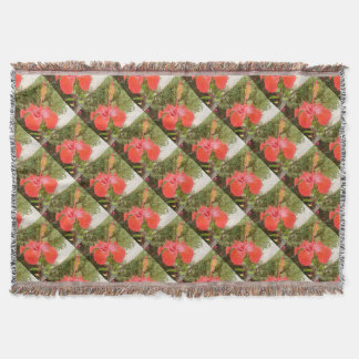 Beautiful Red Hibiscus Flower With Garden Throw Blanket