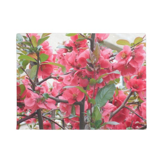 Beautiful Red Japanese Quince Doormat