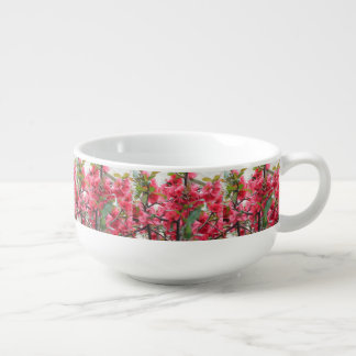 Beautiful Red Japanese Quince Soup Bowl With Handle