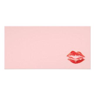 Beautiful Red Kiss Isolated Custom Photo Card