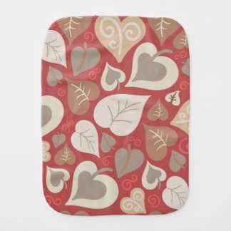beautiful red love hearts leaves burp cloth