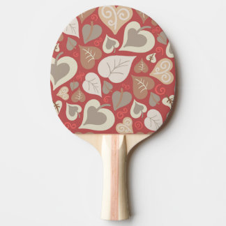 beautiful red love hearts leaves ping pong paddle