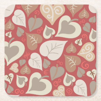 beautiful red love hearts leaves square paper coaster