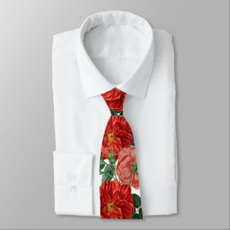 Beautiful red-pink vintage roses and leaves tie