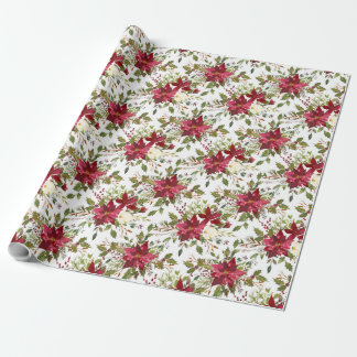 Beautiful Red Poinsettias Wrapping Paper