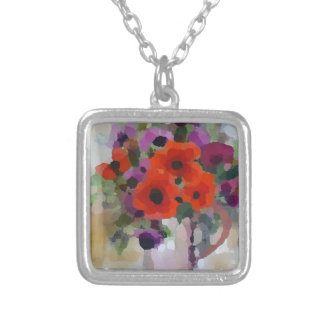 Beautiful Red Poppies Silver Plated Necklace