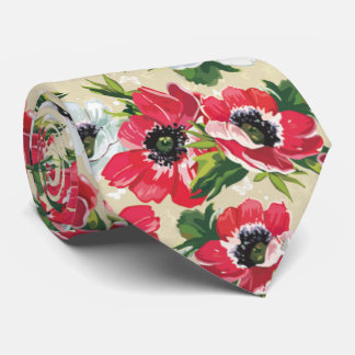 Beautiful red poppy, white daisies and butterflies tie