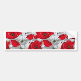 Beautiful red poppy, white daisies and ladybug bumper sticker
