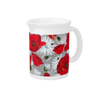 Beautiful red poppy, white daisies and ladybug drink pitchers