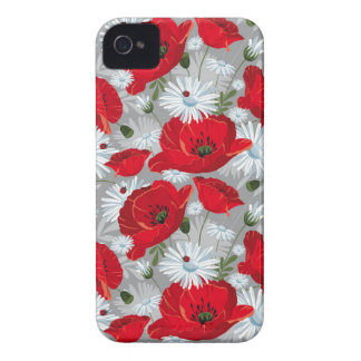 Beautiful red poppy, white daisies and ladybug iPhone 4 Case-Mate cases