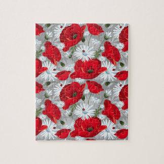 Beautiful red poppy, white daisies and ladybug jigsaw puzzle