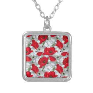 Beautiful red poppy, white daisies and ladybug silver plated necklace