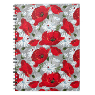Beautiful red poppy, white daisies and ladybug spiral notebook