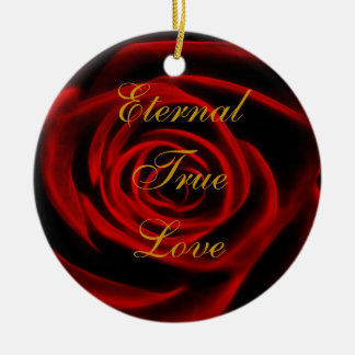 Beautiful red rose christmas tree ornament