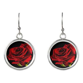 Beautiful red rose earrings