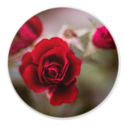 Beautiful red rose flowers ceramic knob