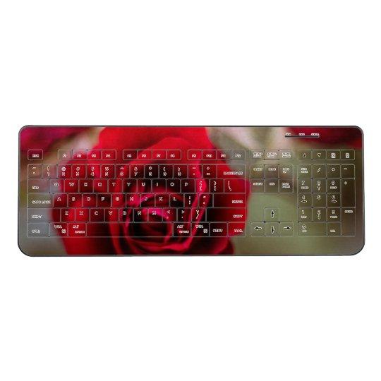 Beautiful red rose flowers wireless keyboard