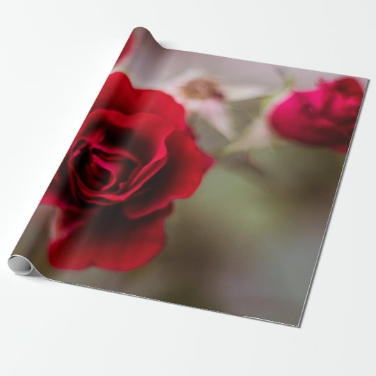 Beautiful red rose flowers wrapping paper