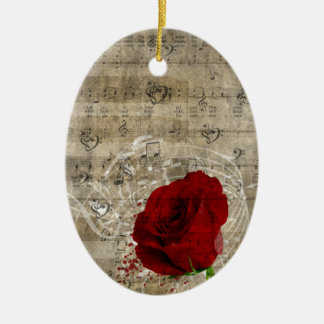 Beautiful red rose music notes swirl faded piano ceramic oval decoration