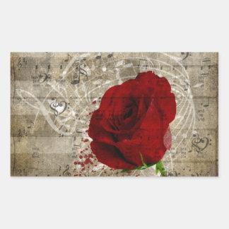 Beautiful red rose music notes swirl faded piano rectangular sticker
