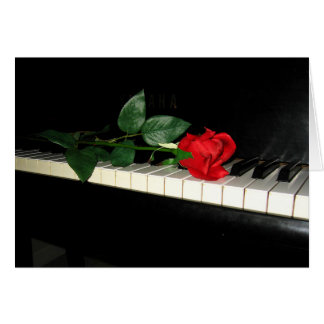 Beautiful Red Rose on Piano Card