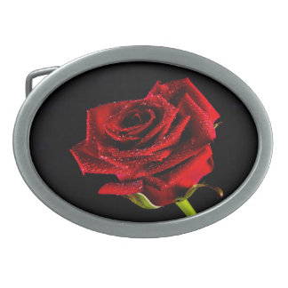 Beautiful red rose oval belt buckle