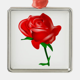 Beautiful Red Rose Silver-Colored Square Decoration