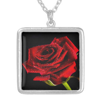Beautiful red rose silver plated necklace