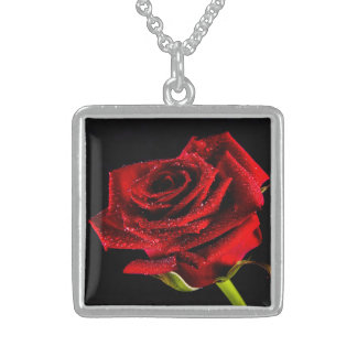 Beautiful red rose sterling silver necklace