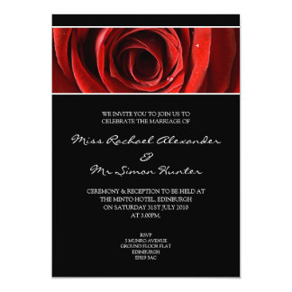 Beautiful Red Rose Wedding Invitiation- Black Announcement
