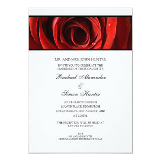 Beautiful Red Rose Wedding Invitiation -White Card