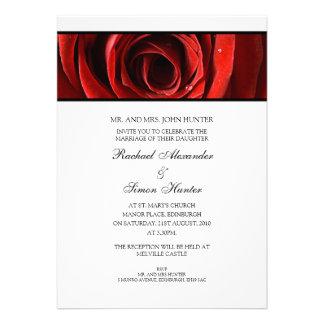 Beautiful Red Rose Wedding Invitiation -White Announcement