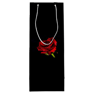 Beautiful red rose wine gift bag