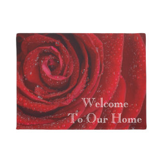 Beautiful Red rose with raindrops Doormat