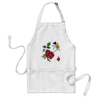 Beautiful Red Roses Done in Crewel Embroidery Standard Apron