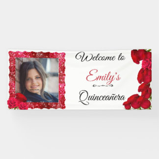 Beautiful, Red Roses, Glitter, Quinceanera, Custom Banner