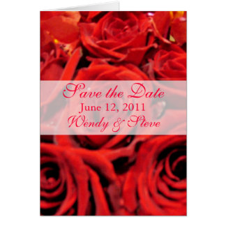 Beautiful red roses Save the Date Greeting Cards
