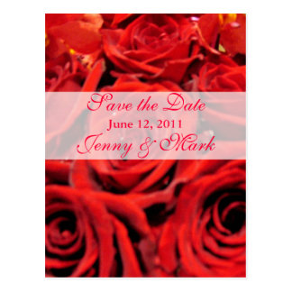 Beautiful Red Roses Save the Date Post Cards