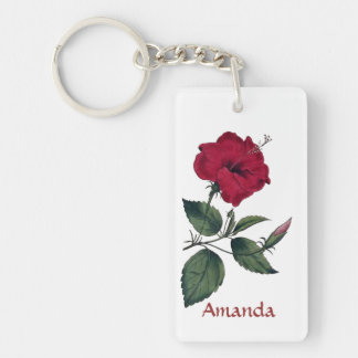 Beautiful Red Single Hibiscus Blossom Key Ring