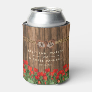 Beautiful Red Tulip Flowers on Wood Can Cooler