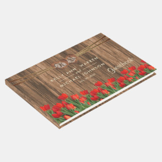 Beautiful Red Tulips on Wood - Guestbook