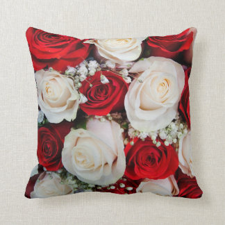 Beautiful Red & White Roses Throw Pillow