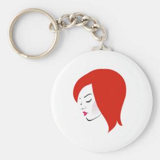 Beautiful redhead wearing a red lipstick keychain