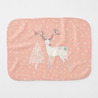 Beautiful Reindeer and Snowflakes Pink Burp Cloth