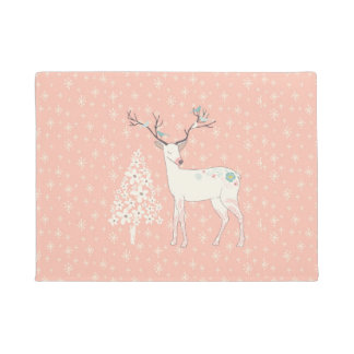 Beautiful Reindeer and Snowflakes Pink Doormat