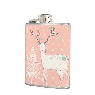 Beautiful Reindeer and Snowflakes Pink Hip Flask