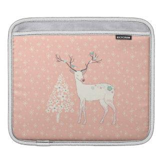 Beautiful Reindeer and Snowflakes Pink iPad Sleeve