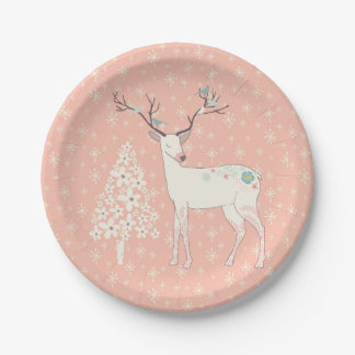 Beautiful Reindeer and Snowflakes Pink Paper Plate