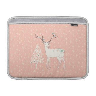 Beautiful Reindeer and Snowflakes Pink Sleeve For MacBook Air